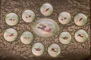 Antique Limoges Hand Painted Platter And 11 Plates Dinner Set Birds Game 1908-1914