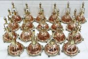 Nautical Replica Cargo Smooth Copper And Brass Pendant/ceiling/mount Light Lot 10