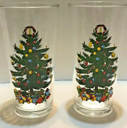 2 Badcock Christmas Holiday Tumblers Tree Drinking Glasses Coolers Vintage