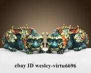 Fengshui Home Decoration Copper Hand-painted Foo Dogs Kylin Kirin Unicorn Statue