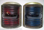Nautical Ships Lanterns Old Pair Brass Blue Red Ribbed Glass Boat Lamps Lighting