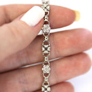 2 Ctw Natural Diamond Solid 14k White Gold Flower Cluster Link Bracelet 7 Inches