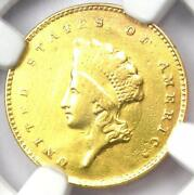 1855-c Indian Gold Dollar G1 - Certified Ngc Au Details - Rare Charlotte Coin