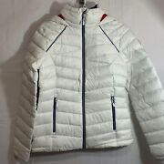 Spyder Womens Nwt Timeless Down Hoodie Jacket In White Abyss Size Small