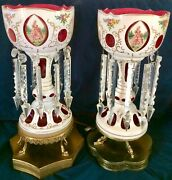 """Pair, Antique 18""""bohemian Luster Lamps. White Cut-to-cranberry,9 Crystal Prisms"""