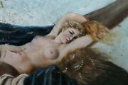 19th C. Women Nude Scene Oil Painting Mother Of Pearl Shell Signed A.m. Tula