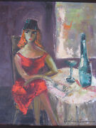 Antique American Modernist Impressionist Oil Painting Woman Portrait Cafe Signed
