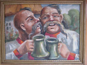 Russian Whimsical Comic Oil Painting Cossacks Beer Impressionist Modernist Art