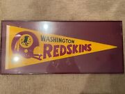 15x34 Washington Redskins Framed Pennant In Red Metal Frame, Mint Condition