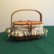Longaberger 1994 Small Purse Basket W/ Spring Floral Liner And Pp