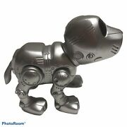 Vintage Silver Toned Tekno Interactive Robot Puppy Dog Manly Toy Quest Broken