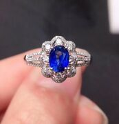 Unheated Natural Royal Blue Sapphire Ring September Birthstone