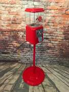 Acorn 1 C Gumball Machine Glass Vintage Coin Op With Metal Stand Penny Machine