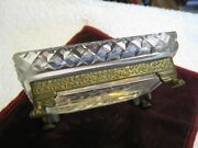 Diamond Cut Crystal 4.75 Dish W/ Bronze Floral Base And Winged Lion Paw Feet