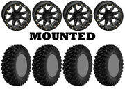 Kit 4 Superatv Xt Warrior Std 30x10-14 On Quadboss Boss Lock Beadlock Black Pol