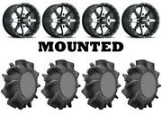 Kit 4 Superatv Assassinator Tires 32x8-14 On Itp Cyclone Matte Black Wheels Fxt