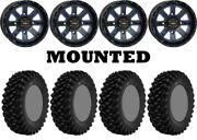 Kit 4 Superatv Xt Warrior Sticky Tires 34x10-14 On System 3 St-4 Blue Wheels Can