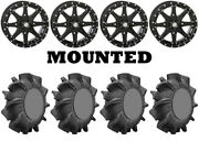 Kit 4 Superatv Assassinator Tires 29.5x10-14 On Sti Hd10 Gloss Black Wheels Vik
