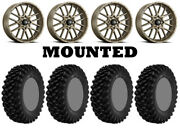 Kit 4 Superatv Xt Warrior Std Tires 34x10-14 On Itp Hurricane Bronze Wheels Pol
