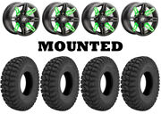 Kit 4 Superatv At Warrior Std Tires 32x10-14 On Sedona Rukus Green Wheels Fxt