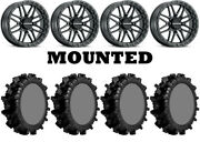 Kit 4 Superatv Terminator Max 35x10-22 On Raceline A11b Krank Xl Black Hp1k