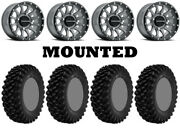 Kit 4 Superatv Xt Warrior Std Tires 28x10-14 On Raceline Trophy Gray Narrow Can