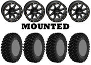 Kit 4 Superatv Xt Warrior Sticky 32x10-14 On Boss Lock Beadlock Black 1kxp