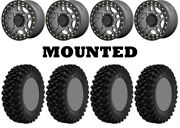 Kit 4 Superatv Xt Warrior Sticky 32x10-14 On Kmc Ks240 Recon Beadlock Gray Pol