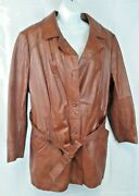 Vtg Womens Leather Jacket Long Brown Belted Removable Lining 60s 70s M-l18-1/2