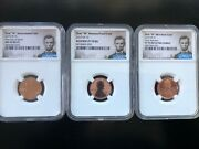 2019 First W Lincoln Cents 3-coin Set Ngc 2 Pf70/ Ms 69rdpl Fdoi