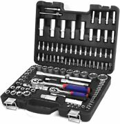 108-piece 1/4and1/2 Drive Socket Ratchet Wrench Set With Bits Mechanic Tools