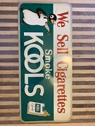 Vintage Kool Cigarette Sign With Penguin, Great Cond Metal 🔥🐧🔥 Advertising