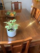 Full Wood Carved Engraved Chinese Asian Table With Chairs Glass Cover Antique