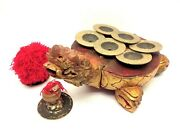 Vintage Chinese Wood Carved Turtle Brass Cymbals Ceng Ceng Instrument Bixi