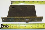 Antique Mortise Door Lock Latch Interior Brass Face Large Size