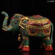 Rare China Old Antique Pure Copper Inlaid With Gems Tracing Gold Elephant Statue