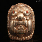 Collectionchina Old Antique Inlaid With Gems Plate With Silver Turtle Shell Mask