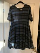 Nwt Mata Traders Multicolored Bell Sleeve Dress Blue/black Size L