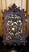 Gorgeous Antique Intricate Leaf Handcarved Wood Wall/counter Top Cabinet Copper