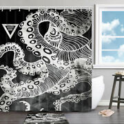 Abstract Line Octopus Shower Curtain Bathroom Decor Fabric 71 In