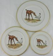 Mid Century Abercrombie Fitch Vosmansky Horse Rooster Equestrian Plate Set 3