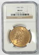 1900 20 Liberty Head Double Eagle Gold Coin Ngc Ms63