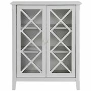 Legacy Home Savannah Wood Accent Cabinet With Two Doors In Light Gray