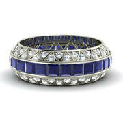 14k White Gold Certified 3.50ct Blue Sapphire Eternity Band Diamond Ring Size 7
