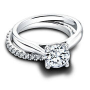Christmas Sale 1.12 Round Cut Real Diamond Band Set 14k Solid White Gold Size 8