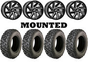 Kit 4 Moose Switchback Tires 27x10-14/27x12-14 On Sedona Chopper Machined Can
