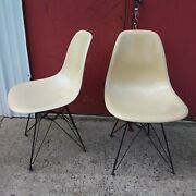 Rare 1957 Herman Miller Eames Fiberglass Chairs Date Stamped No Label Set Of 2