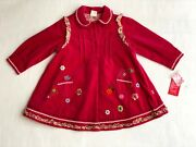 Oilily Girls 100 Brushed Cotton Collared Pink Dress - Size 2t