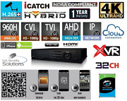 32 Channels H.265+ 4k Ultra Hd Hybrid Security Dvr/nvr Hd-tvi/ahd/960h /ip/p2p