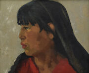 Attributed To Joseph Fleck - Taos Girl - Oil On Panel 10 X 12